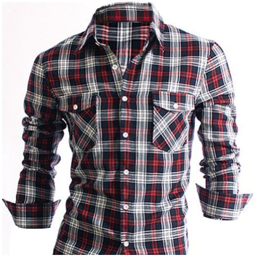 Stylish Check Mens Casual Slim fit Dress Shirts Red medium