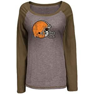 NFL Cleveland Browns Women's Sport Princess III Jersey, Brown Melange, Large
