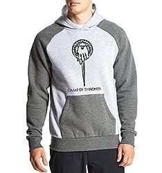 Fanideaz Men's Cotton Full Sleeves Hand Of the King Game Of Thrones Hoodies For Men (Premium Sweatshirt)_Charcoal Melange_L