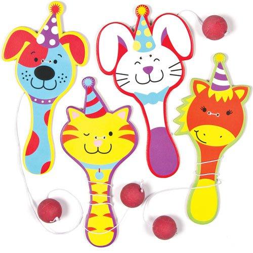Racchette in Legno con Elastico e Pallina con Animali Festosi Perfette da Regalare alle Feste dei Bambini per Giocarci (confezione da 4)