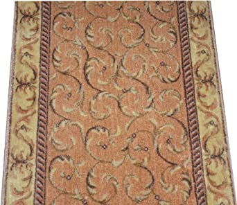 dean peach scrollwork carpet rug hallway stair runner purchase by the linear foot. Black Bedroom Furniture Sets. Home Design Ideas