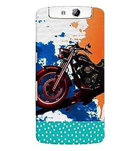 Fuson 3D Printed Bike Designer back case cover for Oppo N1 - D4485