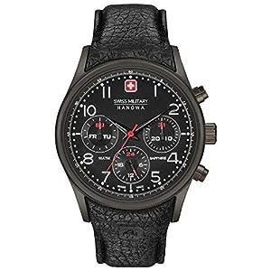 Swiss Military Men's 44mm Black Leather Band IP Steel Case Sapphire Crystal Quartz Watch 06-4278.13.007