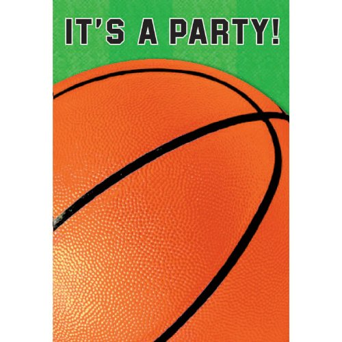 Basketball Folded Invitations 8 per pack