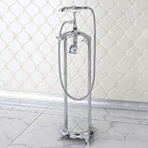 Floor Mount Free Standing Bathtub Shower System Bathroom Shower Faucet Set Wi
