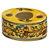 **Super Sale**Big Discounts** SouvNear Yellow Ceramic Toothpaste Stand / Toothbrush Holder with 3 Holes for Bathroom Décor Accessories with Elegant Floral Design from India