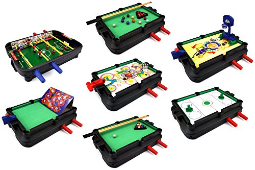 Ultimate 7-in-1 Novelty Table Top Arcade Games Toy Play Set w/ Table, Accessories