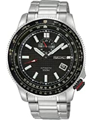 Seiko Black Dial GMT Tachymeter Stainless Steel Mens Watch SSA005