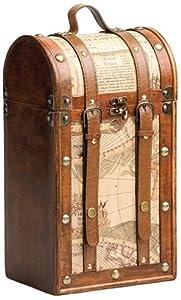 True Fabrications Treasure Map Wood Wine Box 2 Bottle Wine Holder