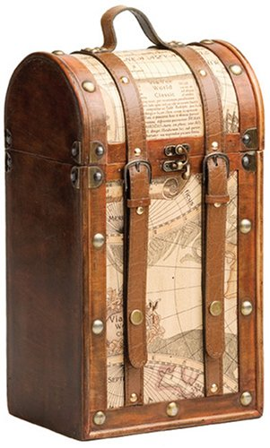 True Fabrications Twine Treasure Map Wood Chest Wine Box For Wine Storage Of 2 Bottles Of Wine front-565676