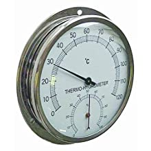 "Reed TH600 Stainless Steel Dial Thermo-Hygrometer, 5"" Dial, 0 to 120 Degrees C"
