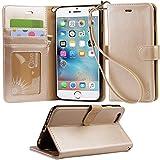 「Arae」iphone 6 plus ケース 手帳型 iphone 6s plus ケースRoHS規格認定書取得 iphone 6plus ケース スタンド機能付き iphone 6splus ケース マグネット内蔵 アイホン 6s プラス ケース ストラップ付き アイホン 6 プラス ケース 財布型 アイホン6sプラスケース カードポケット付き アイホン6プラスケース 耐衝撃(シャンパンゴールド)
