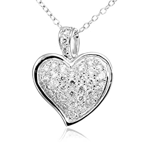 sterling silver cubic zirconia pave heart pendant