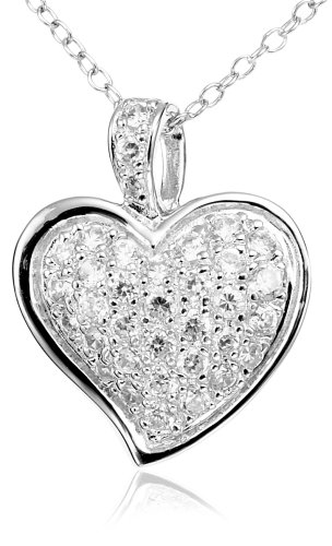 Sterling Silver Cubic Zirconia Pave Heart Pendant, 18""