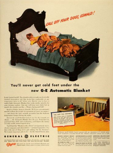 1942 Ad General Electric G-E Automatic Heated Blankets World War Ii Boy Dogs Bed - Original Print Ad