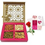 Valentine Chocholik's Premium Gifts - Unique Treat Of Dry Fruits And Baklava With Love Card And Rose