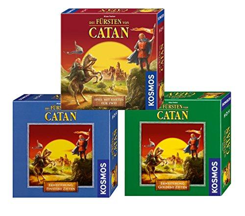 Kosmos 971373 - Bundle - Die Fürsten von Catan, Erweiterungen Finstere Zeiten und Goldene Zeiten, Kartenspiel