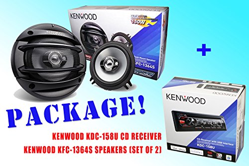 Package ! Kenwood Kdc-158U Cd-Receiver + Kenwood Kfc-1364S Car Speakers
