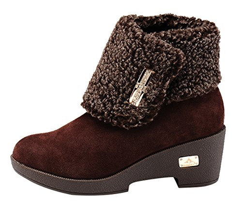 Milanao Women Fashion Sexy Hook & Loop Height Increasing Plush Keep Warm Ankle Snow Boots(7 B(M)Us,Chocolate)