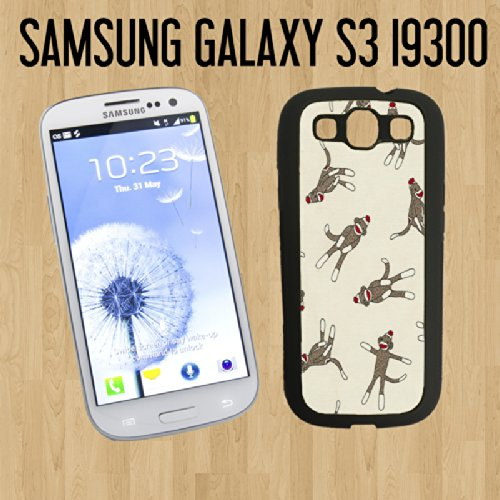 Monkey Sock Pattern Custom made Case/Cover/skin FOR Samsung Galaxy S3 - Black - Rubber Case ( Ship From CA) + FREE Screen Protector