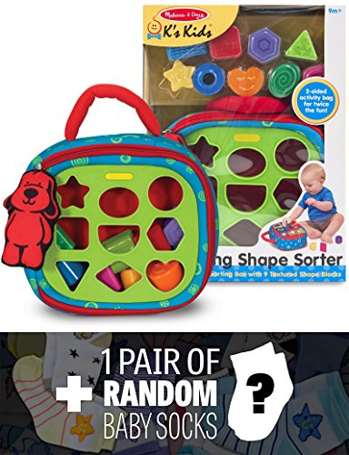 K's Kids Take-Along Shape Sorter Baby Toy + 1 FREE Pair of Baby Socks Bundle [91855]
