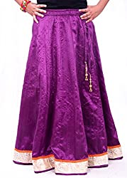 Jeeyaa Creations Women Silk Long Skirt(jcsk6476pu01_purple)