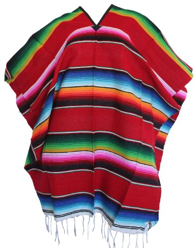 Del Mex (TM) Mexican Serape Poncho Pancho Adult Costume (Red)