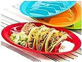 (Set/4) Taco Divider Plates Set - Keep Shells Upright Dish W/ Side Sections
