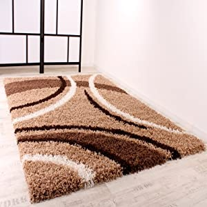 Shaggy Carpet High Pile Long Pile Patterned in Brown Beige Cream by PHC