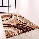 Shaggy Teppich Hochflor Langflor Gemustert in Braun Beige Creme, Grösse:160x220 cm