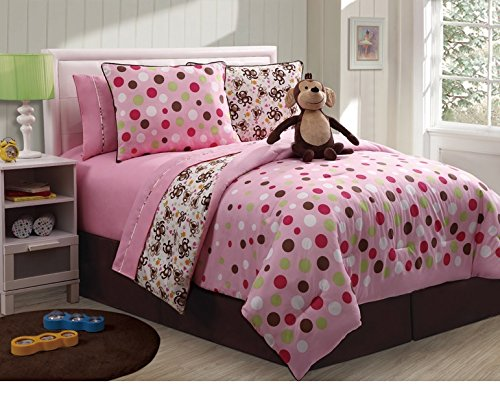 9 Pc Reversible Monkey Comforter Set Bed In A Bag Full Size Bedding By Plush C Collection
