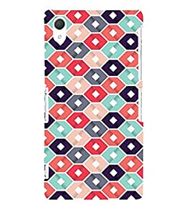 Abstract Hexagonal Design 3D Hard Polycarbonate Designer Back Case Cover for Sony Xperia Z2 :: Sony Xperia Z2 L50W D6502 D6503