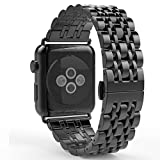 MisSmart Apple Watch ベルト 時計用バンド(WATCH BAND) 38mm ステンレス留め金製 (7-ブラック)