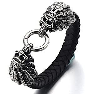 Stainless Steel Mens Indian Skull Bangle Bracelet Genuine Braided Leather Wristband Spring Ring Clasp