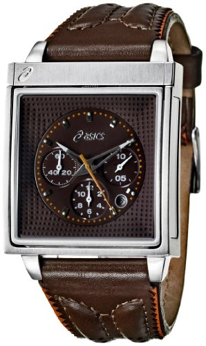 Asics Mens Watch QA5122901 with Brown Dial and Brown Leather Strap