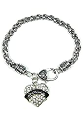 Sister Clear Crystals Fashion Lobster Claw Heart Bracelet Jewelry