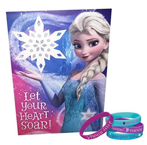 Disney Frozen Elsa Light-Up Singing Greeting Card And Band Bracelets Bundle Set Of 2
