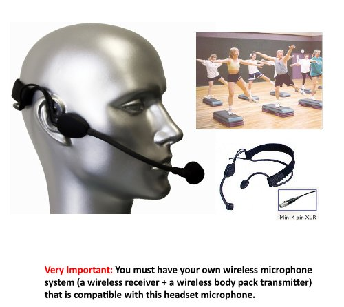 Av-Jefe Professional Aerobic / Fitness Sweat-Proof Headset Microphone For Shure Wireless Transmitters
