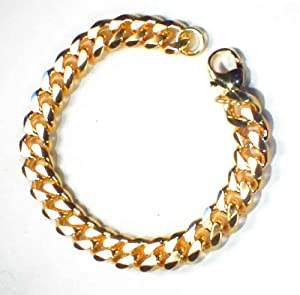 """TENDENZE Curb Chain Bracelet, 18ct Gold Doublé, 11mm Length 17cm/6.69"""", Directly From The Italian Factory"""