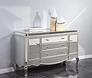 new stylish mirrored sideboard in silver finish. Black Bedroom Furniture Sets. Home Design Ideas