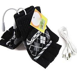 USB Warm Gloves Oenbopo Unisex PC Laptop USB Heated Half & Full Finger Winter Warm Hand Gloves Warmer Wool for Women Men (Black)