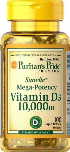 Puritan's Pride Vitamin D3 10,000 IU-100 Softgels (Vitamin D 10000 Iu compare prices)