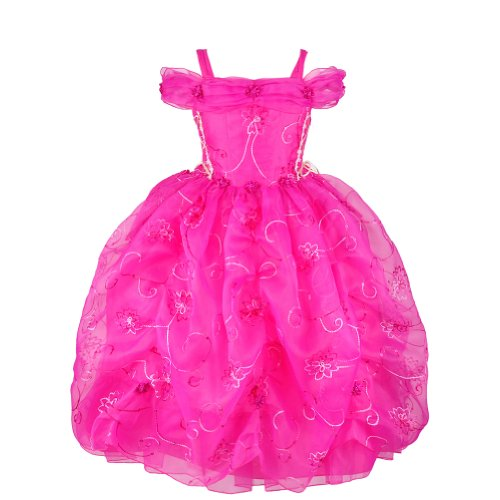 Today Fuchsia Felicity Embroidered Organza Princess Girl Dress-Fuchsia-8