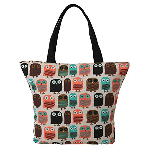 LATH.PIN Shopper Canvas Bag Owl Womens Shoulder Shopping Tote Beach Bag