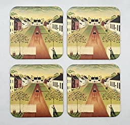 Carriage on a Country Lane Absorbent Beverage Coasters with Cork Backing (Pack of 4)