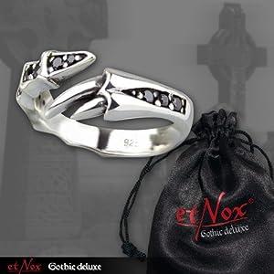 etNox - Ring ''Black Crystal Claw'' 925 Silber (R8016), Ringgrösse:56