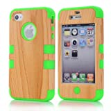 Super Spiderman Fashion Vivid Wooden Print New Dual Layer Protection ( PC + Silicone ) Hybrid Back Case Cover for Apple iPhone 4 4s 4g with Apple Logo Cutout ( Inner Green )