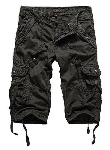 HEMOON Mens Military Style Twill Cargo Shorts Quick-dry Summer Shorts (WITHOUT BELT) Style 4 Dark Grey Waist: 34