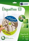 Avery White Full Face CD/DVD Label - Inkjet - J8676 - Etiquetas de impresora (Color blanco, Inyección de tinta)