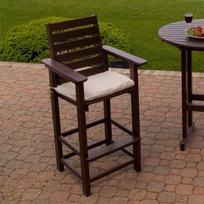 Captain 29.5&quot; Outdoor Bar Stool Finish: Mahogany